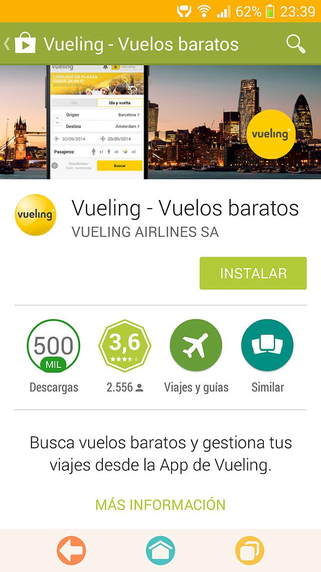 Como usar la app Android de Vueling para hacer el check-in